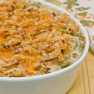 Green Bean Casserole with Mushroom Bechamel & Crispy Onions.