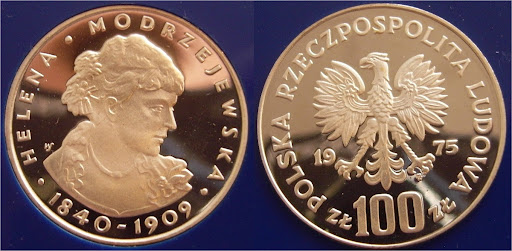 Commemorative coin with the image of Helena Modjeska.