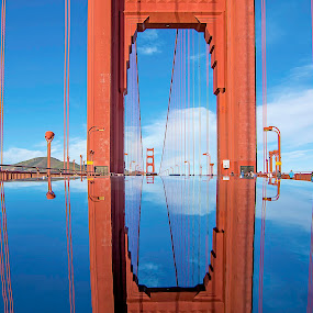 Through the eye of The Golden Gate by Jamie Valladao - Buildings & Architecture Bridges & Suspended Structures ( clouds, orange, reflection, sky, golden gate bridge, blue, san rafael, gold, bridge, san francisco,  )