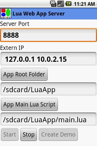 Lua Web App Server- screenshot