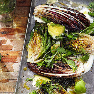 Grilled Lettuces with Crème Fraîche and Avocado.