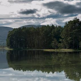 Sediments by Jacek Steplewski - Landscapes Waterscapes ( clouds, water, scotland, water reflection, waterscape, reflections, trees, forest, lake, landscape )