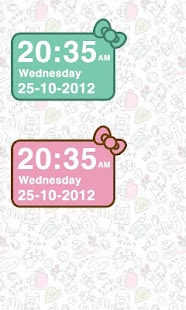 Pink Kitty bow Clock Widget - screenshot thumbnail