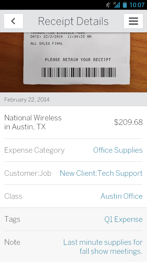 ReceiptMatch from Amex - screenshot