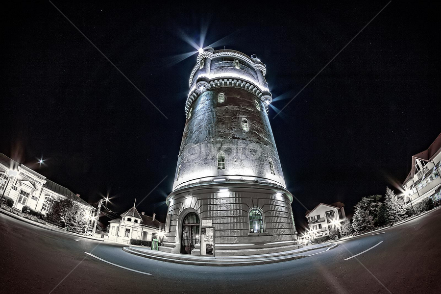 water tower by Sabin Fota - Buildings & Architecture Statues & Monuments ( history, water, urban, tower, white, romania, monument, night, light, severin, black, nightdark )