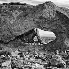 by Theresa Stevens - Nature Up Close Rock & Stone ( , black and white, b&w, landscape )