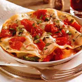 Roasted Vegetable and Prosciutto Lasagna with Alfredo Sauce.
