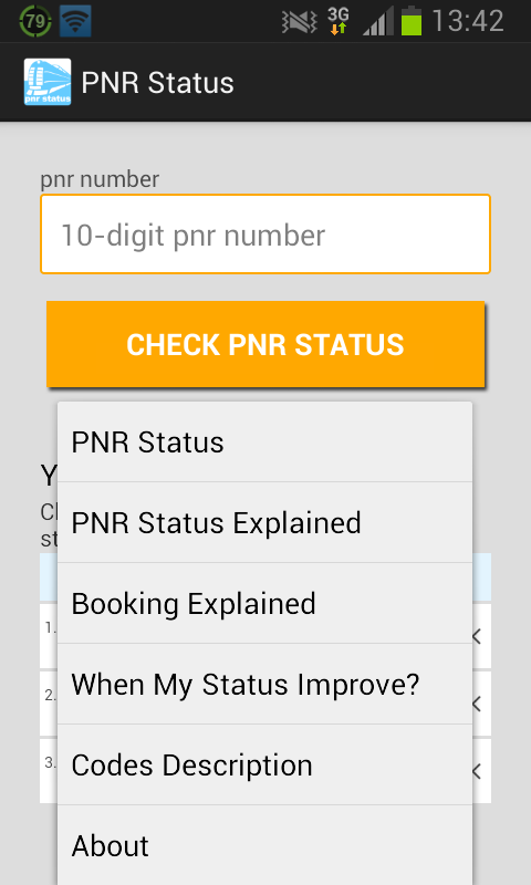 PNR status- screenshot