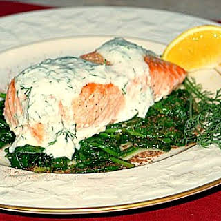 Grilled Salmon w/ Spinach & Yogurt Dill Sauce.