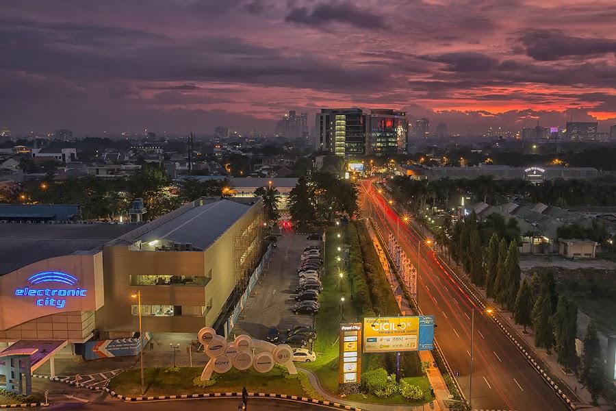 Sunset on SCBD by Henky Tjahja - City,  Street & Park  Night