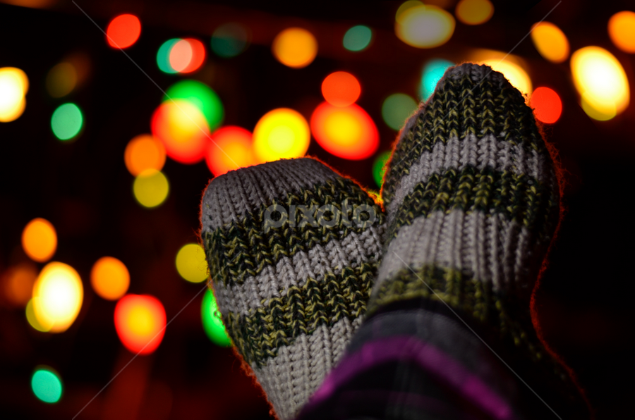 Cozy Christmas by María Elena Muñoz - Public Holidays Christmas ( lights, cozy, christmas, socks, bokeh )