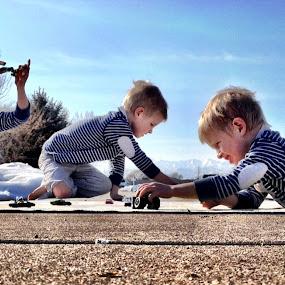 Boys will be boys by Gabi Dearing - Babies & Children Children Candids ( blue, cars, boys, seeing three, photoshop,  )