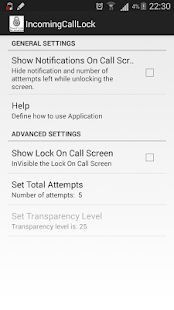 Invisible Incoming Call Lock screenshot