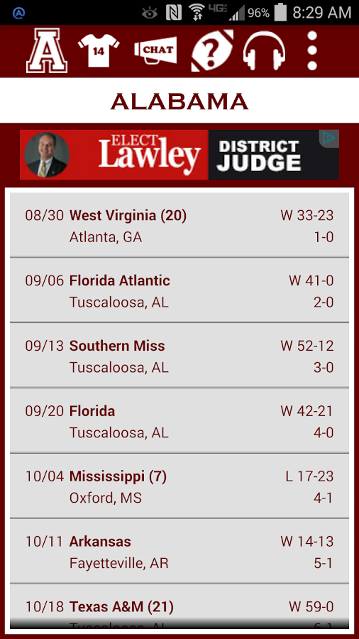 Alabama Football Schedule- screenshot