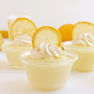 Lemon Pudding with Candied Lemon Slices