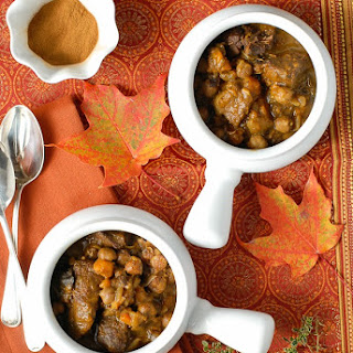 Slow Cooker Fragrant Beef Stew with Yams and Chickpeas.