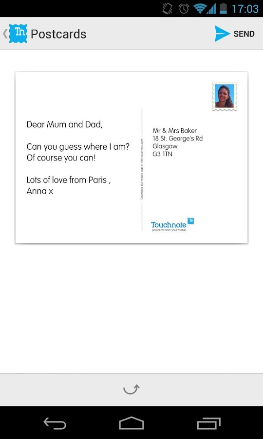 Touchnote Postcards - screenshot