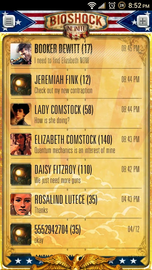 Bioshock Infinite Go SMS Pro - screenshot