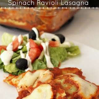 Quick & Easy Spinach Ravioli Lasagna.
