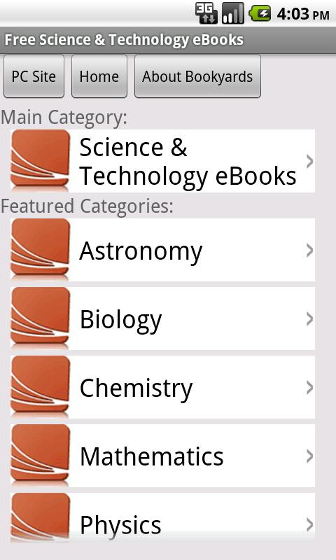 Science eBooks - screenshot