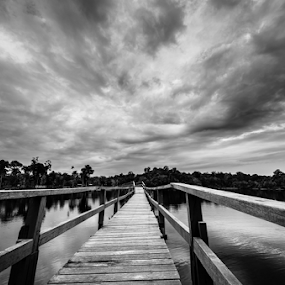 The Bridge by Mahdi Hussainmiya - Uncategorized All Uncategorized ( clouds, black and white, texture, lake, bridge )
