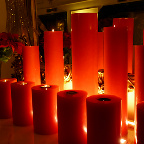 Pillars of Light by Nadir Aziz - Artistic Objects Other Objects ( red, candles, wax, glow, softness, light, candle, , mood factory, color, lighting, moods, colorful, bulbs, mood-lites, #GARYFONGDRAMATICLIGHT, #WTFBOBDAVIS )