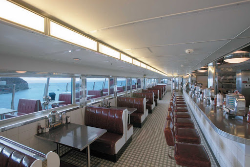 Explorer-of-the-Seas-Johnny-Rockets - Sometimes, even at sea, you just want a burger, shake and fries. That's when you stop in at Johnny Rockets, on deck 12 of Explorer of the Seas.