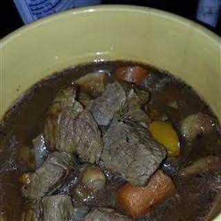 Mom's Hearty Beef Stew with Dumplings.