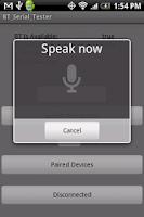 Screenshot of Bluetooth Serial Test App