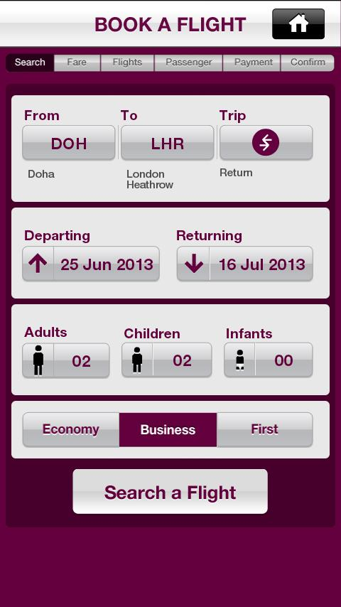 Qatar Airways - screenshot