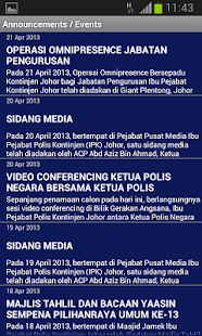 Polis Johor e-Alerts App - screenshot thumbnail