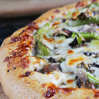 Alfredo Philly Cheesesteak Pizza.