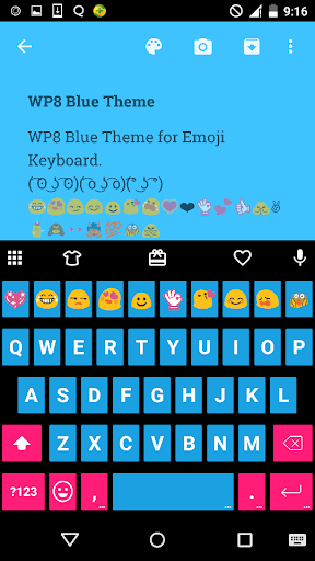 Blue Emoji Keyboard Theme