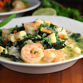 Thai Green Curry with Shrimp and Kale.
