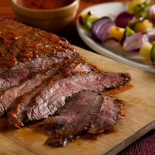 Chipotle-Glazed Grilled Flank Steak with Peppers and Pineapple