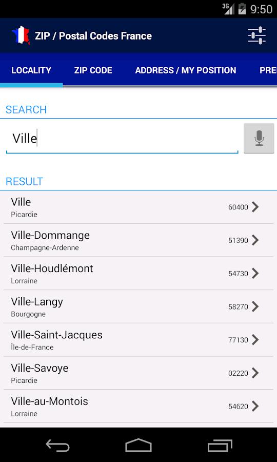 zip postal codes france android apps on google play. Black Bedroom Furniture Sets. Home Design Ideas