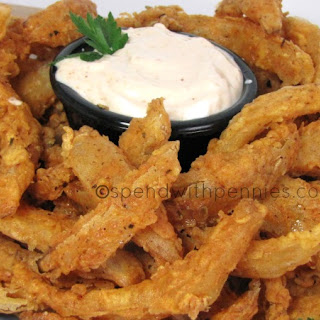 Blooming Onion Bites with Dipping Sauce!.
