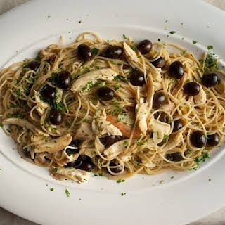 Chicken, Black Olives and Lemon with Spaghetti.