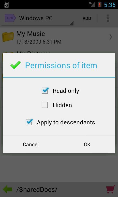 Folder Tag CIFS Service- screenshot
