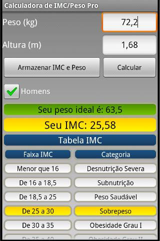 Calculadora IMC/Peso ideal Pro - screenshot