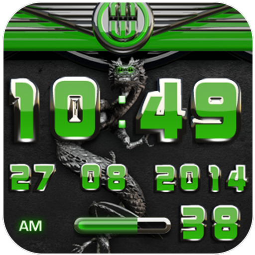 dragon digital clock green
