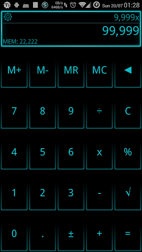 SCalc Neon Cyan theme