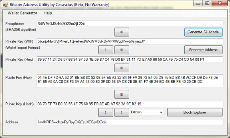 Bitcoin Address Tool - screenshot