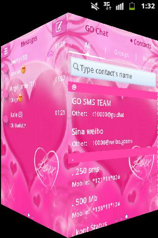 Pink Love Theme GO SMS Pro- screenshot