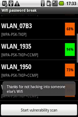 Wifi password breaker - screenshot