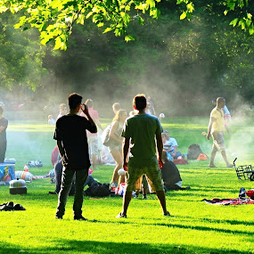 The Watchers by Fred Starkey - City,  Street & Park  City Parks ( city street and park., barbecue smoke, city park,  )