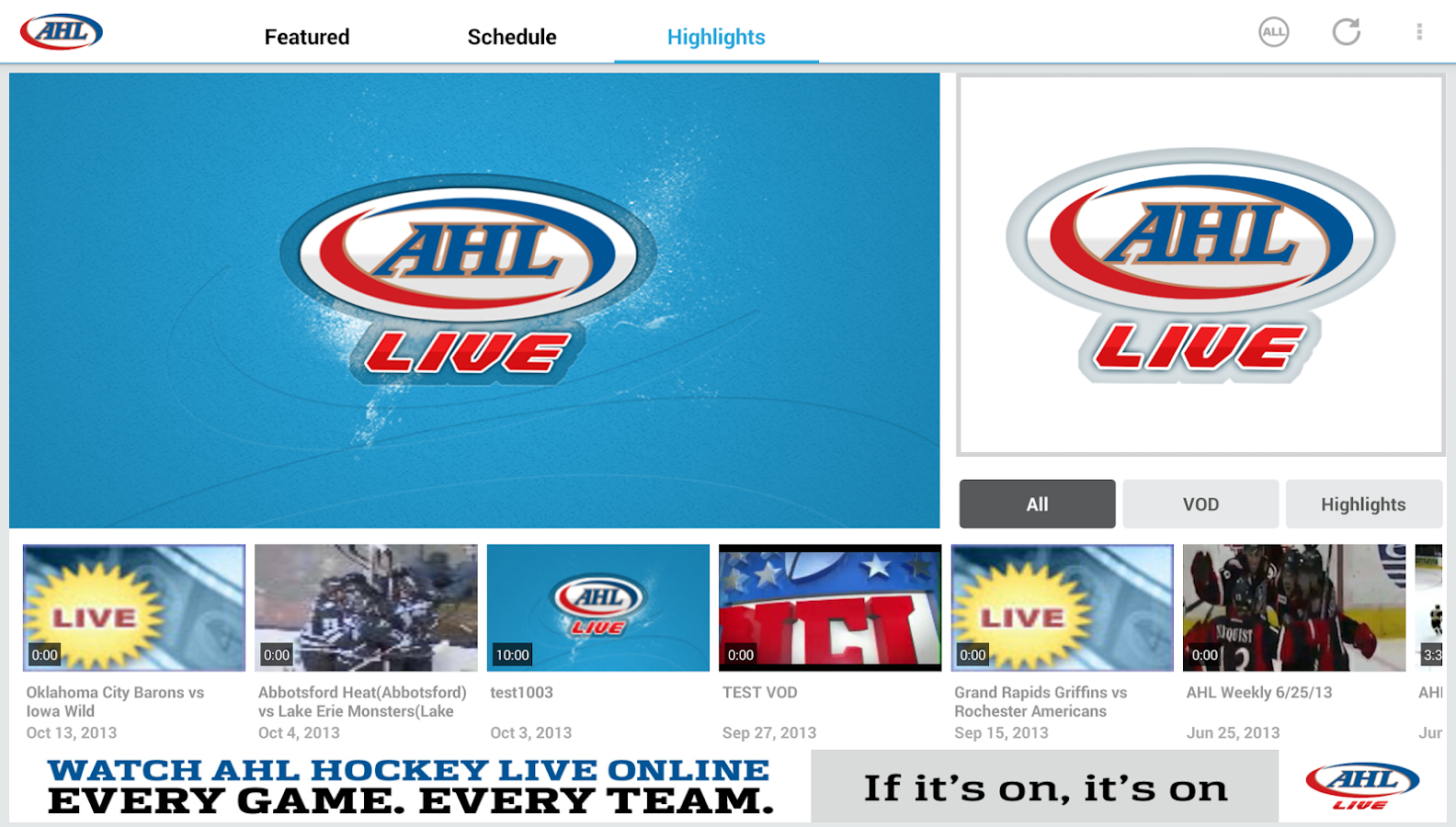 AHL Live - screenshot
