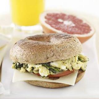 Green Eggs & Ham Bagel Breakfast Sandwich.