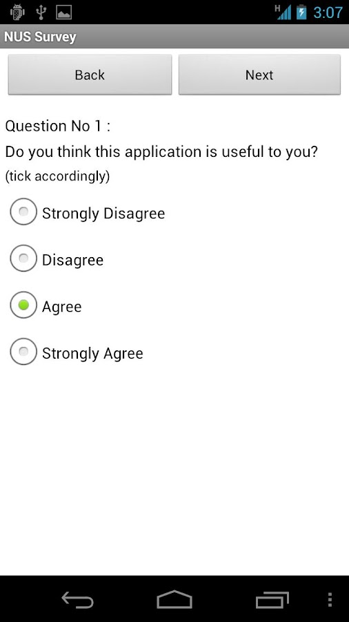 NUS Survey- screenshot