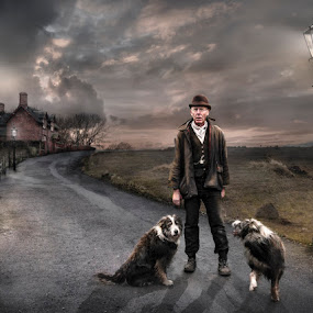 No Trespassing by KT Allen - Digital Art People ( old, dogs, montage, scruffy, art, posts, collier, land, collies, house, digital, composite, hat, story, sky, farmer, path, lamp, man )